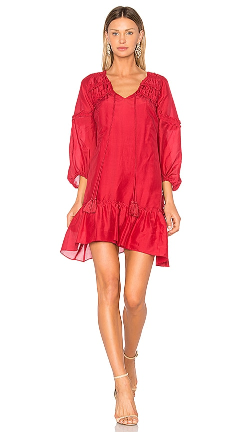 DEREK LAM 10 CROSBY Bell Sleeve Ruffle Solid Dress in Red