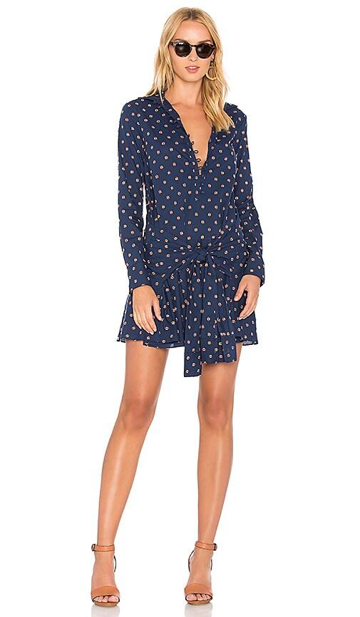 DEREK LAM 10 CROSBY Tie Waist Shirt Dress in Blue