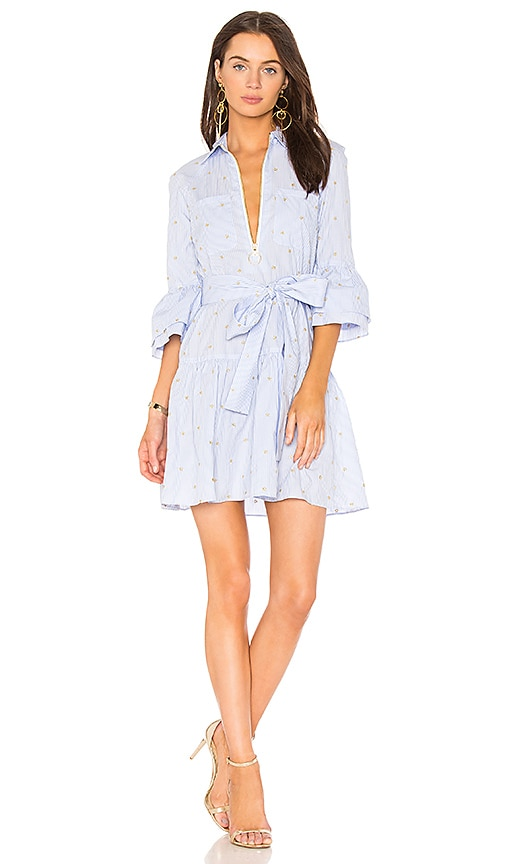 Derek Lam 10 Crosby Derek Lam  Belted Ruffle Striped Shirtdress Mult-med 2 In Blue