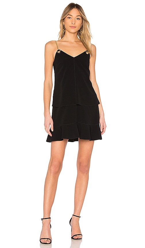 DEREK LAM 10 CROSBY Cami Flounce Dress in Black
