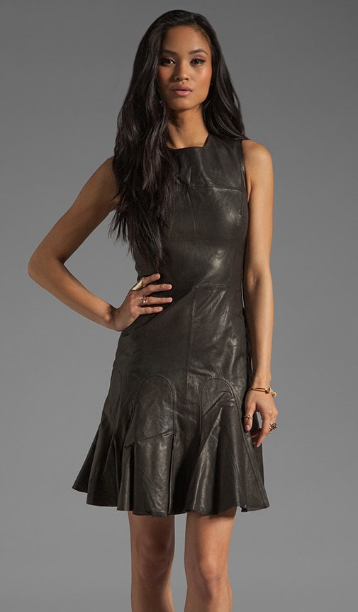 Sleeveless Tulip Leather Dress