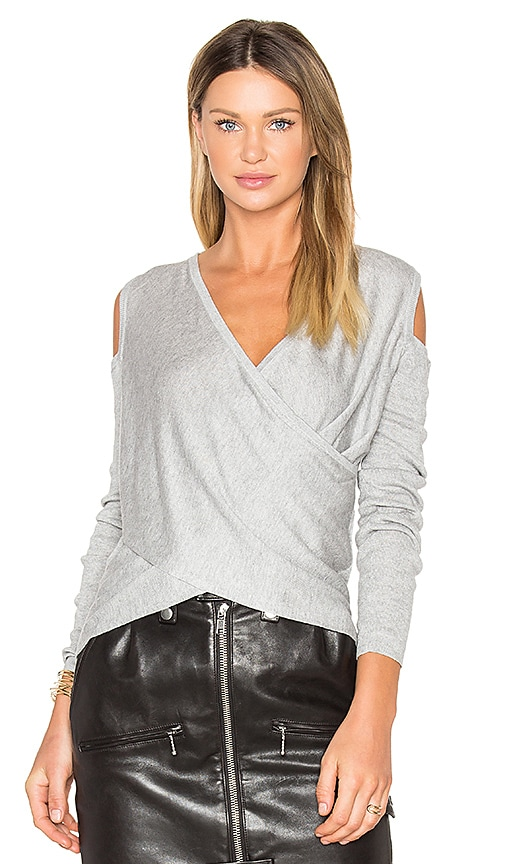 DEREK LAM 10 CROSBY Cross Front Cut Out Shoulder Sweater in Gray