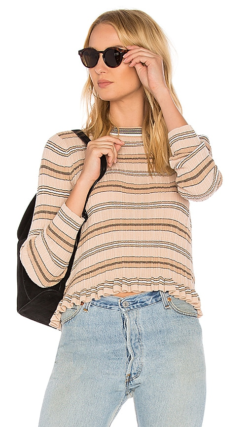 DEREK LAM 10 CROSBY Sheer Striped Crewneck Sweater in Pink