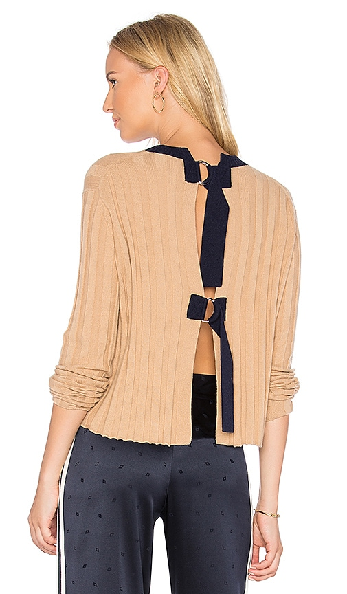 DEREK LAM 10 CROSBY Open Back Pullover in Tan