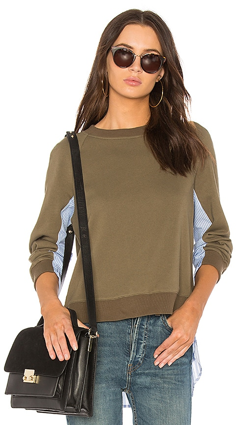 DEREK LAM 10 CROSBY Shirting Combo Pullover in Army