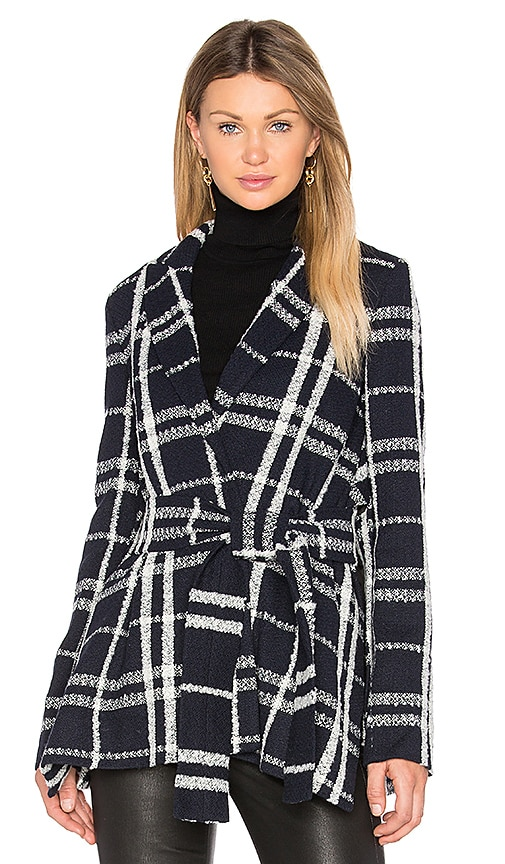DEREK LAM 10 CROSBY Tie Belt Wrap Jacket in Navy