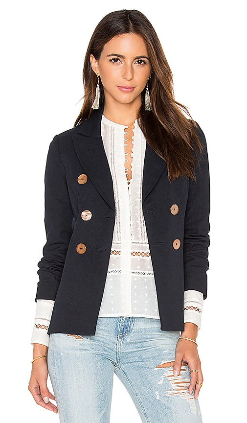 DEREK LAM 10 CROSBY Double Breasted Jacket in Navy