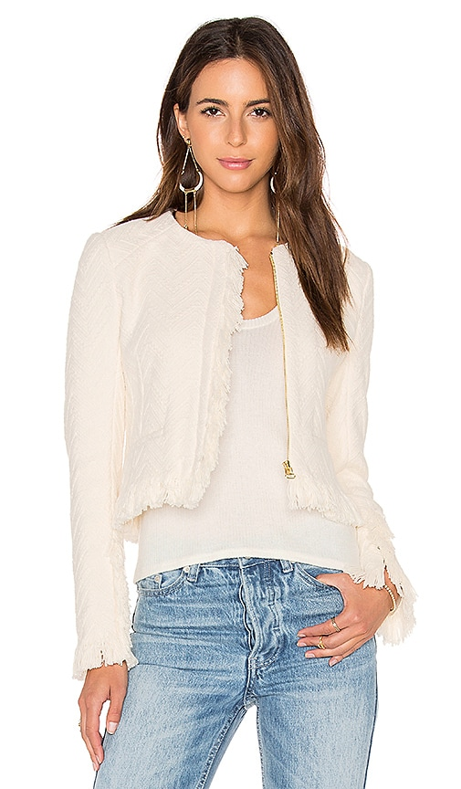 DEREK LAM 10 CROSBY Short Fringe Detail Jacket in Cream