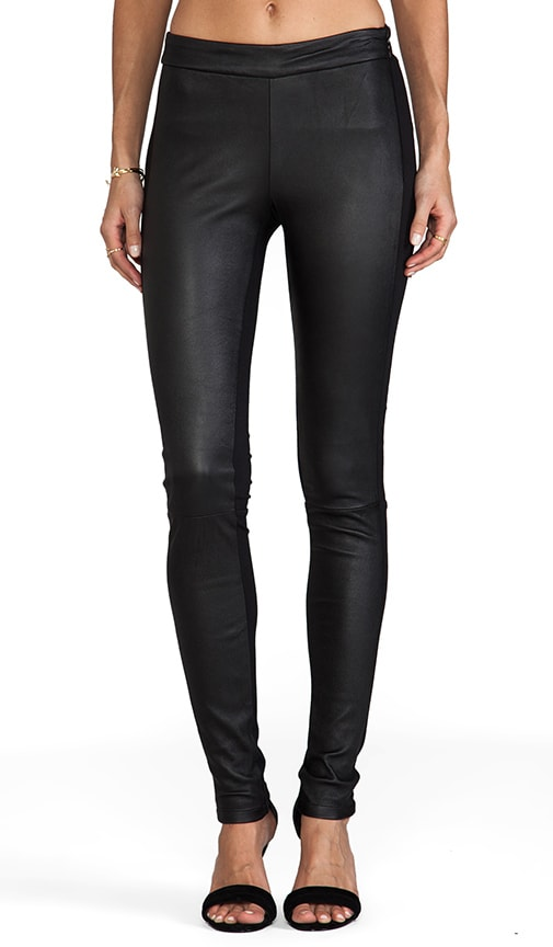 Front Leather Panel Legging