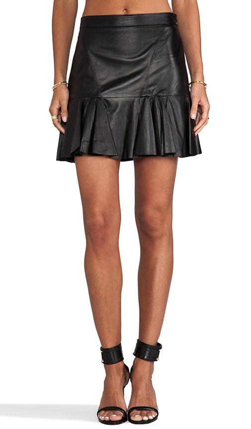 derek lam 10 crosby leather ruffle skirt in black revolve