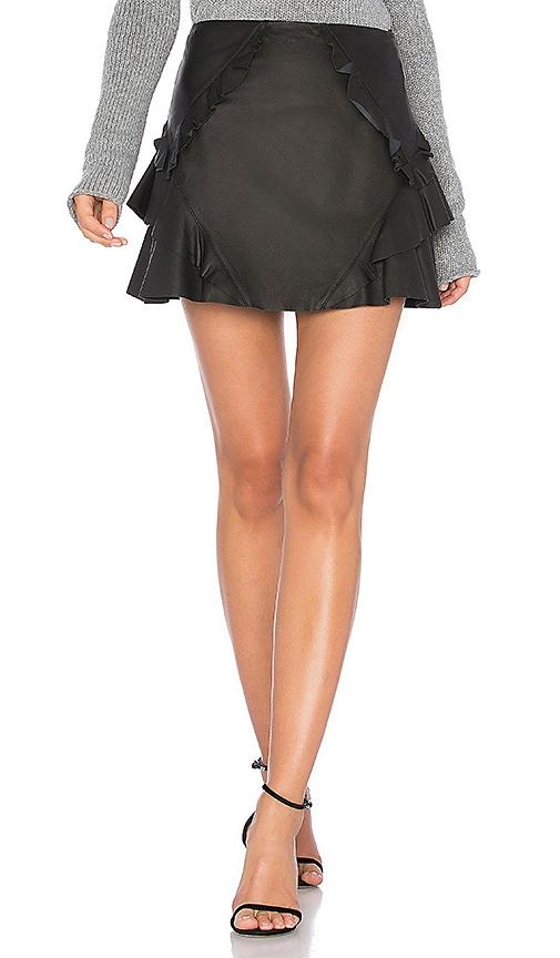 DEREK LAM 10 CROSBY Ruffle Leather Mini Skirt in Black