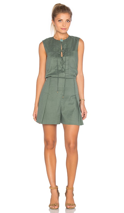 DEREK LAM 10 CROSBY Sleeveless Lace Up Romper in Green