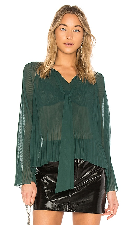 DEREK LAM 10 CROSBY Pleated Blouse in Green