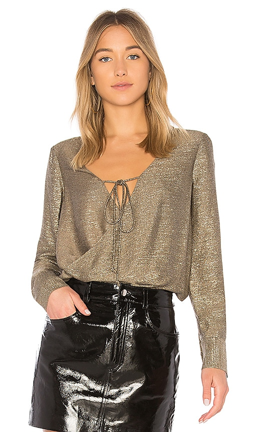 DEREK LAM 10 CROSBY Drape Front Blouse in Metallic Gold