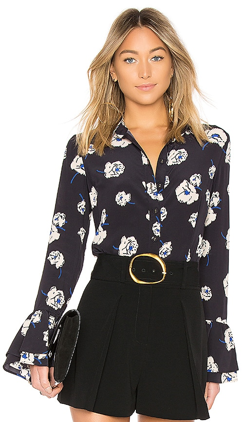 DEREK LAM 10 CROSBY Ruffle Sleeve Button Down Blouse in Navy