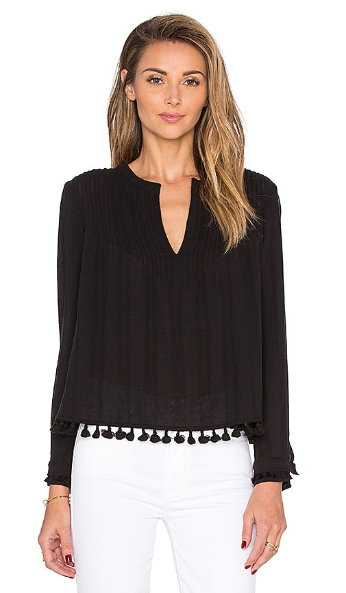 DEREK LAM 10 CROSBY Tassel Detail Long Sleeve Pintucked Top in Black