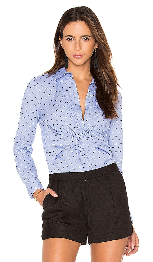 DEREK LAM 10 CROSBY Long Sleeve Button Down Twist Detail Shirt in Blue