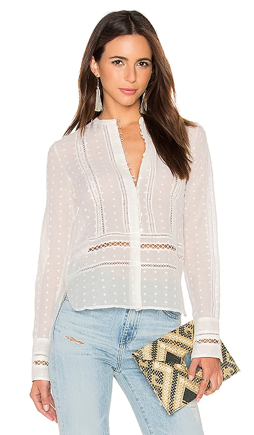 DEREK LAM 10 CROSBY Long Sleeve Embroidered Blouse in White