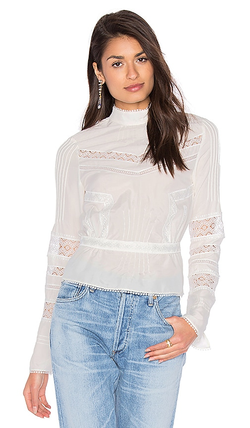 DEREK LAM 10 CROSBY High Collar Blouse in White