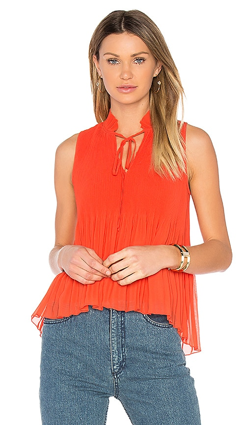 DEREK LAM 10 CROSBY Pleated Top in Red