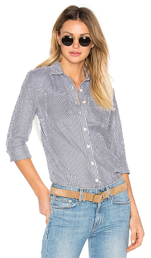 DEREK LAM 10 CROSBY Long Sleeve Button Down Shirt in Blue