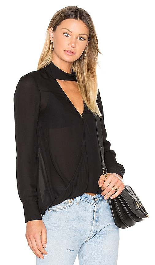 DEREK LAM 10 CROSBY Long Sleeve Drape Front Collar Detail Blouse in Black