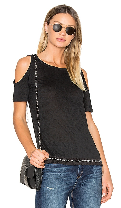 DEREK LAM 10 CROSBY Cold Shoulder Tee in Black