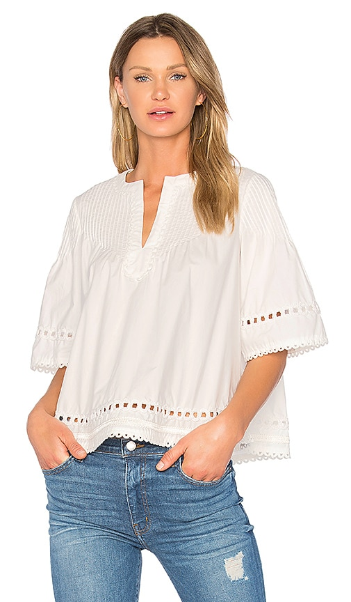 DEREK LAM 10 CROSBY Pintuck Top in White