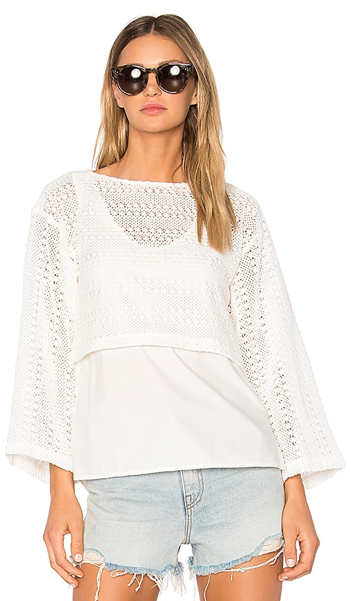DEREK LAM 10 CROSBY Crochet 2-in-1 Top in White