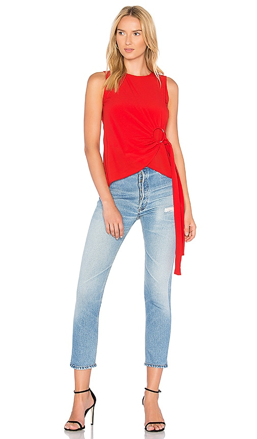 DEREK LAM 10 CROSBY Sleeveless Ring Top in Red