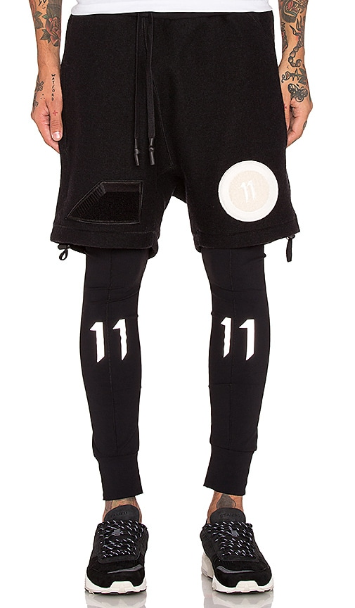 11 by Boris Bidjan Saberi Felted Wool Shorts with Patches in Black