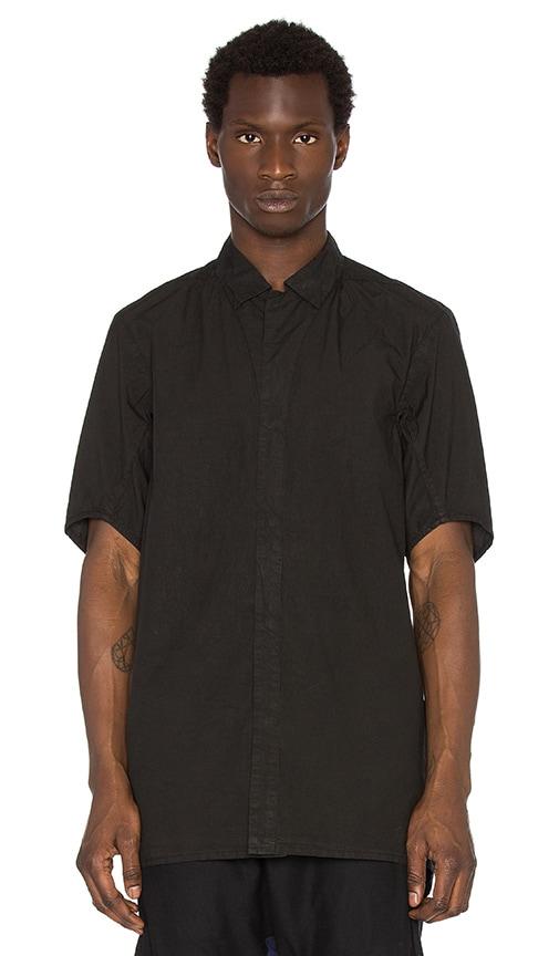 11 by Boris Bidjan Saberi Short Sleeve Button Down Shirt in Black Dye