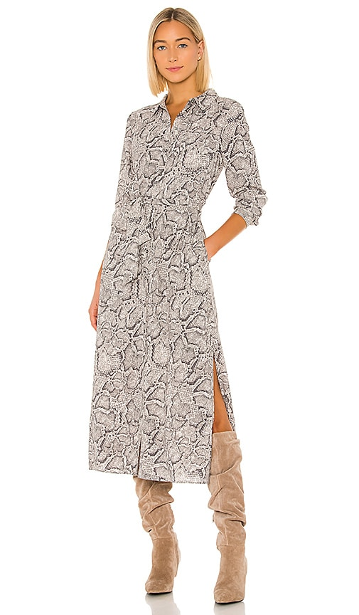 1. STATE Patch Pocket Snake Print Maxi Dress in Feather Grey | REVOLVE