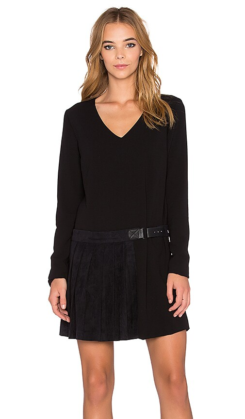 1. STATE Long Sleeve Pleat Detail Shift Dress in Black