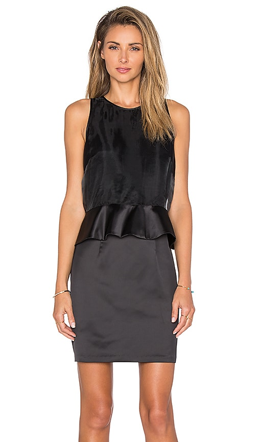 1. STATE Organza Overlay Ruffle Waist Dress in Rich Black