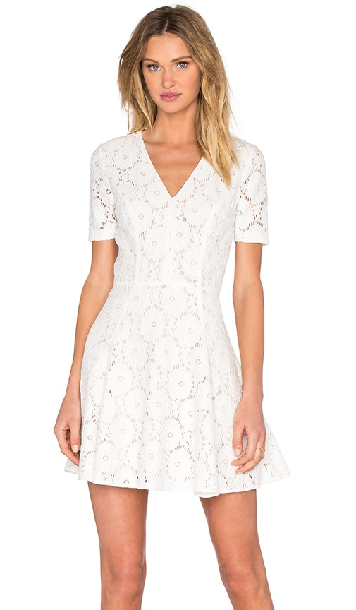 1. STATE Lace Flare Dress in Cloud