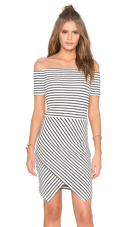 1. STATE Off Shoulder Envelope Dress in Black & White