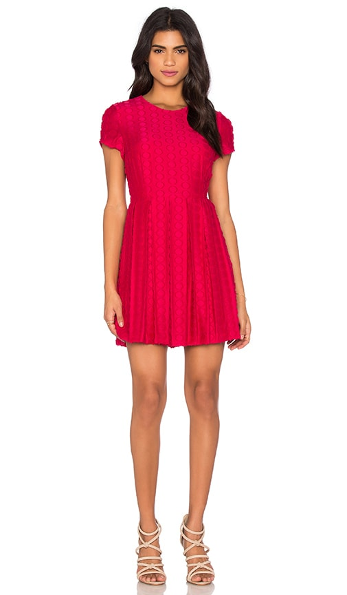 1. STATE Pleated Flare Dress in Horizon Pink