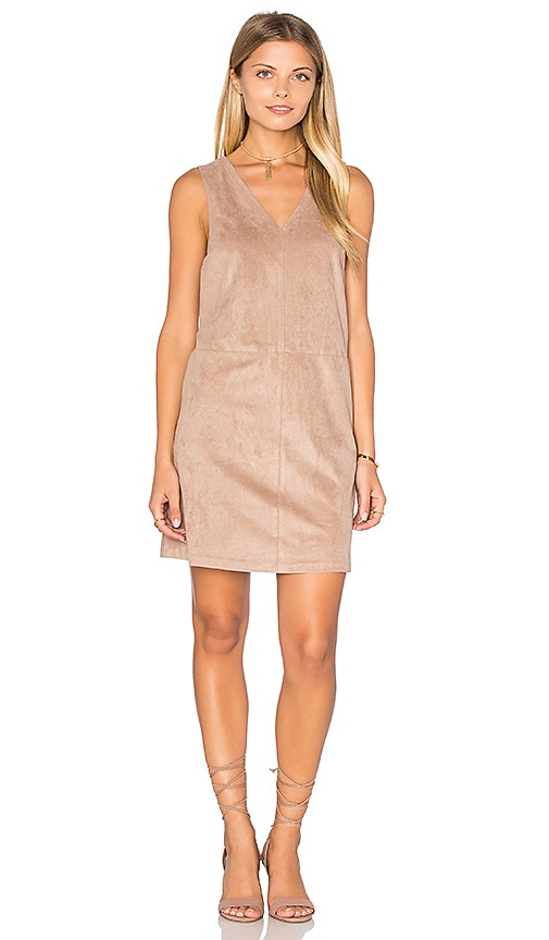 1. STATE Faux Suede Shift Dress in Brown