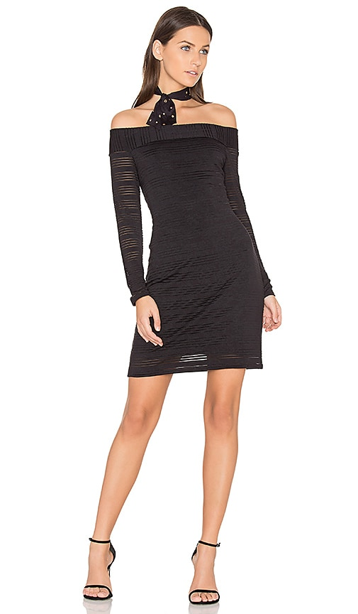 1. STATE Sheer Stripe Bodycon Dress in Black