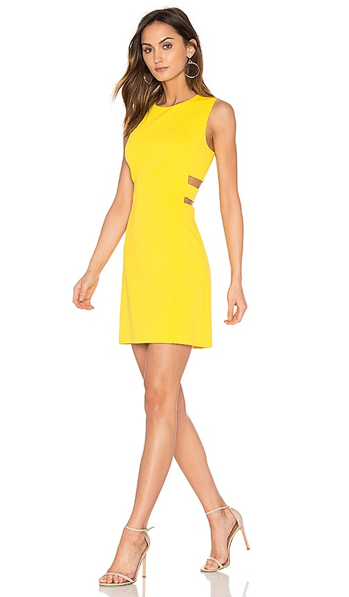 State cut out a line dress in yellow
