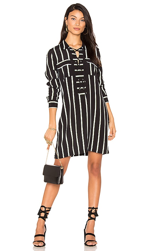 1. STATE Lace Up Shift Dress in Black