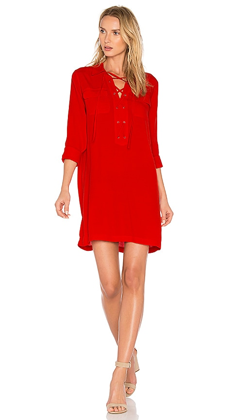 1. STATE Lace Up Pocket Dress in Red