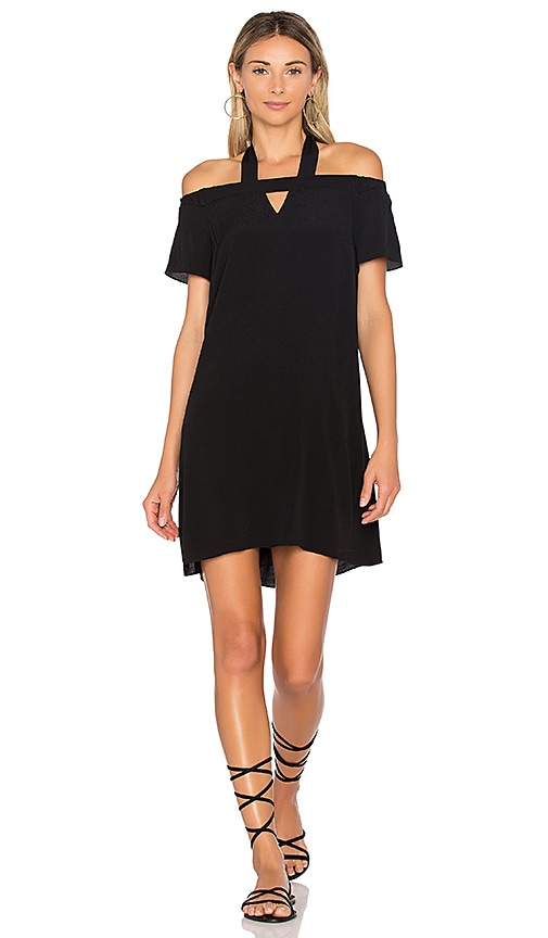 1. STATE Halter Cold Shoulder Shift Dress in Black