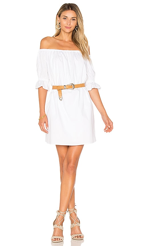 222b17174121 1. STATE Off Shoulder Smocked Sleeve Shift Dress in Ultra White ...