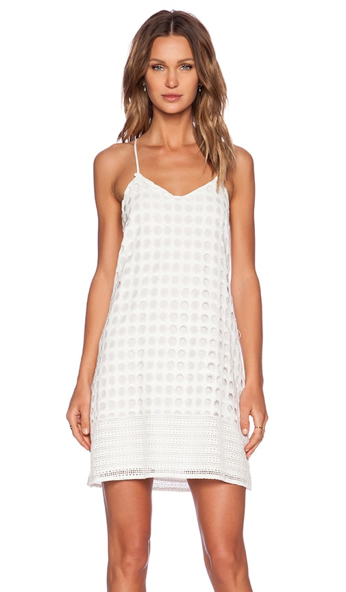 1. STATE Circle Lace Shift Dress in White