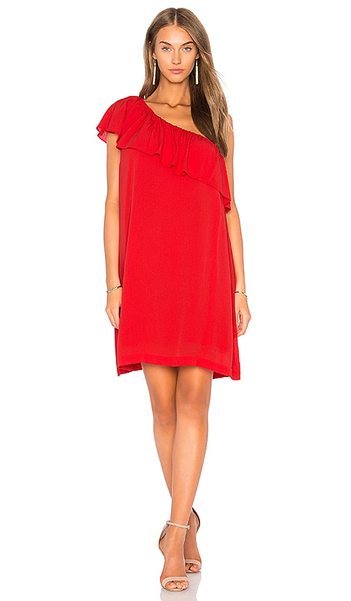 1. STATE One Shoulder Ruffle Edge Dress in Red