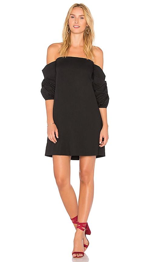 1. STATE Off Shoulder Voluminous Sleeve Dress in Black