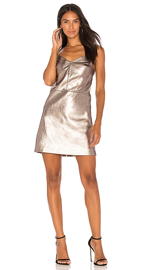 1. STATE Spaghetti Strap Slip Dress in Metallic Silver
