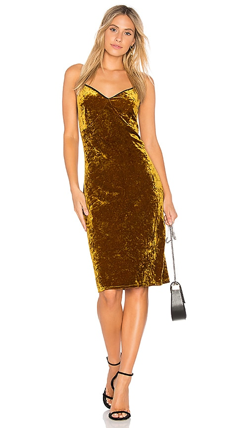 1. STATE Racerback Bodycon Midi Dress in Mustard